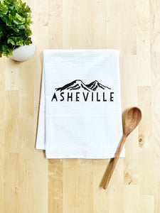 Asheville NC Mountains Dish Towel - White Or Gray - MoonlightMakers