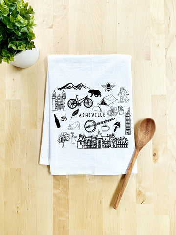 Asheville North Carolina Collage Dish Towel - White Or Gray - MoonlightMakers