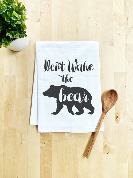 Don't Wake the Bear Dish Towel - White Or Gray - MoonlightMakers