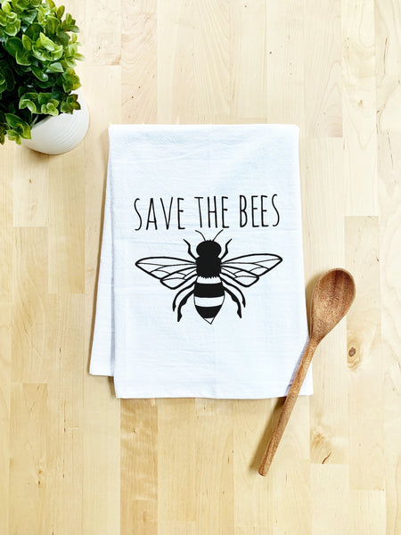 Save The Bees Dish Towel - White Or Gray - MoonlightMakers