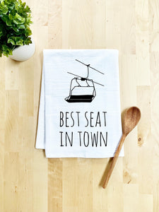 Best Seat in Town Dish Towel - White Or Gray - MoonlightMakers