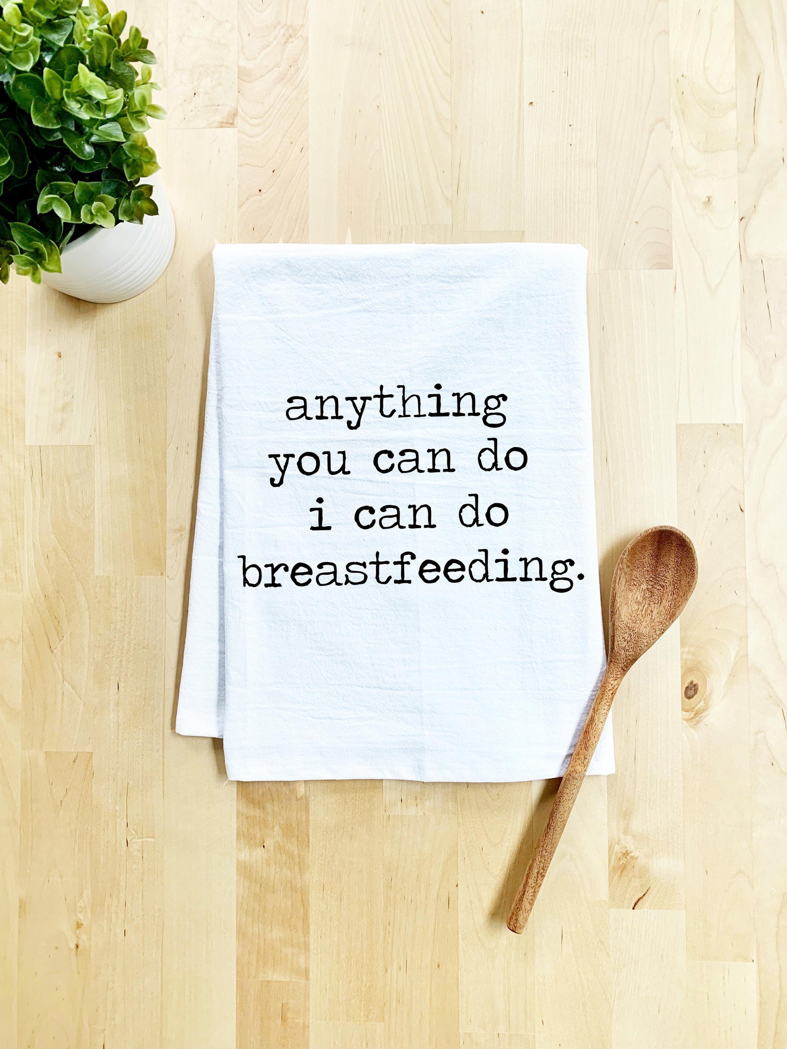 Anything You Can Do, I Can Do Breastfeeding Dish Towel - White Or Gray - MoonlightMakers