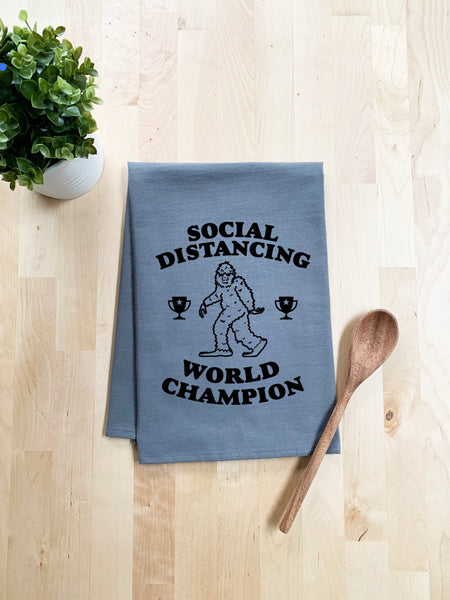 Social Distancing World Champion (Sasquatch) Dish Towel - White Or Gray - MoonlightMakers