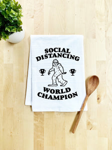 No Kid Hungry, Social Distancing World Champion, Dish Towel - White Or Gray - MoonlightMakers