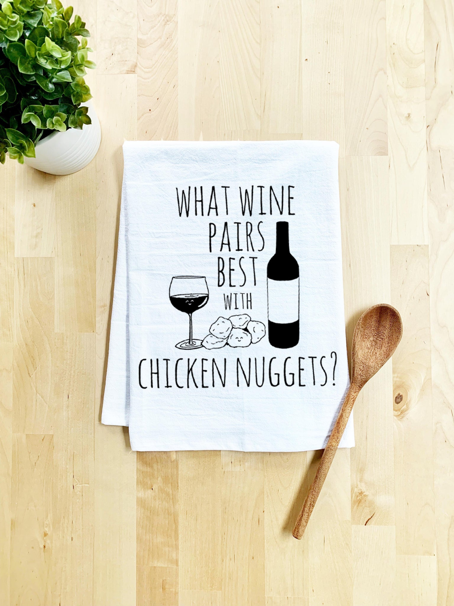 What Wine Pairs Best With Chicken Nuggets Dish Towel - White Or Gray - MoonlightMakers