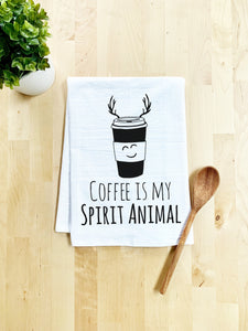 Coffee Is My Spirit Animal Dish Towel - White Or Gray - MoonlightMakers