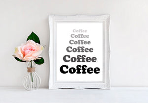 "Coffee Coffee Coffee - 8""x10"" Wall Print - MoonlightMakers"