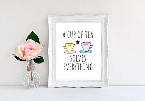 "A Cup Of Tea Solves Everything (Cups) - 8""x10"" Wall Print - MoonlightMakers"