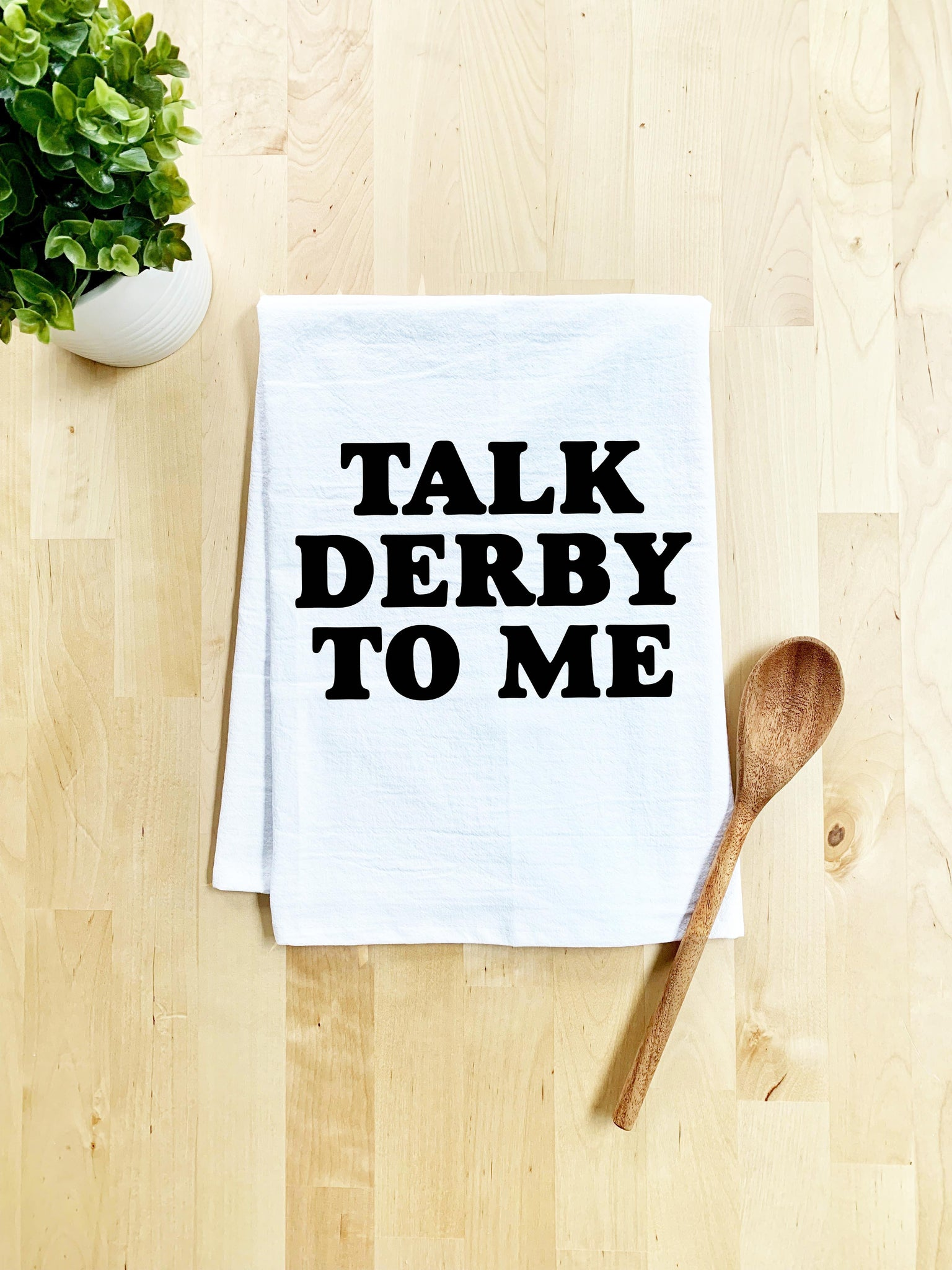 Talk Derby to Me Dish Towel - White Or Gray