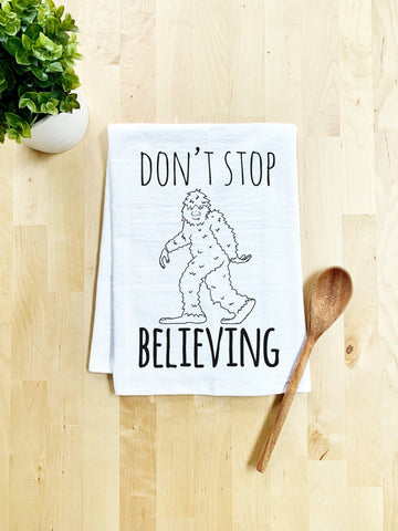 Don't Stop Believing Dish Towel - White Or Gray - MoonlightMakers