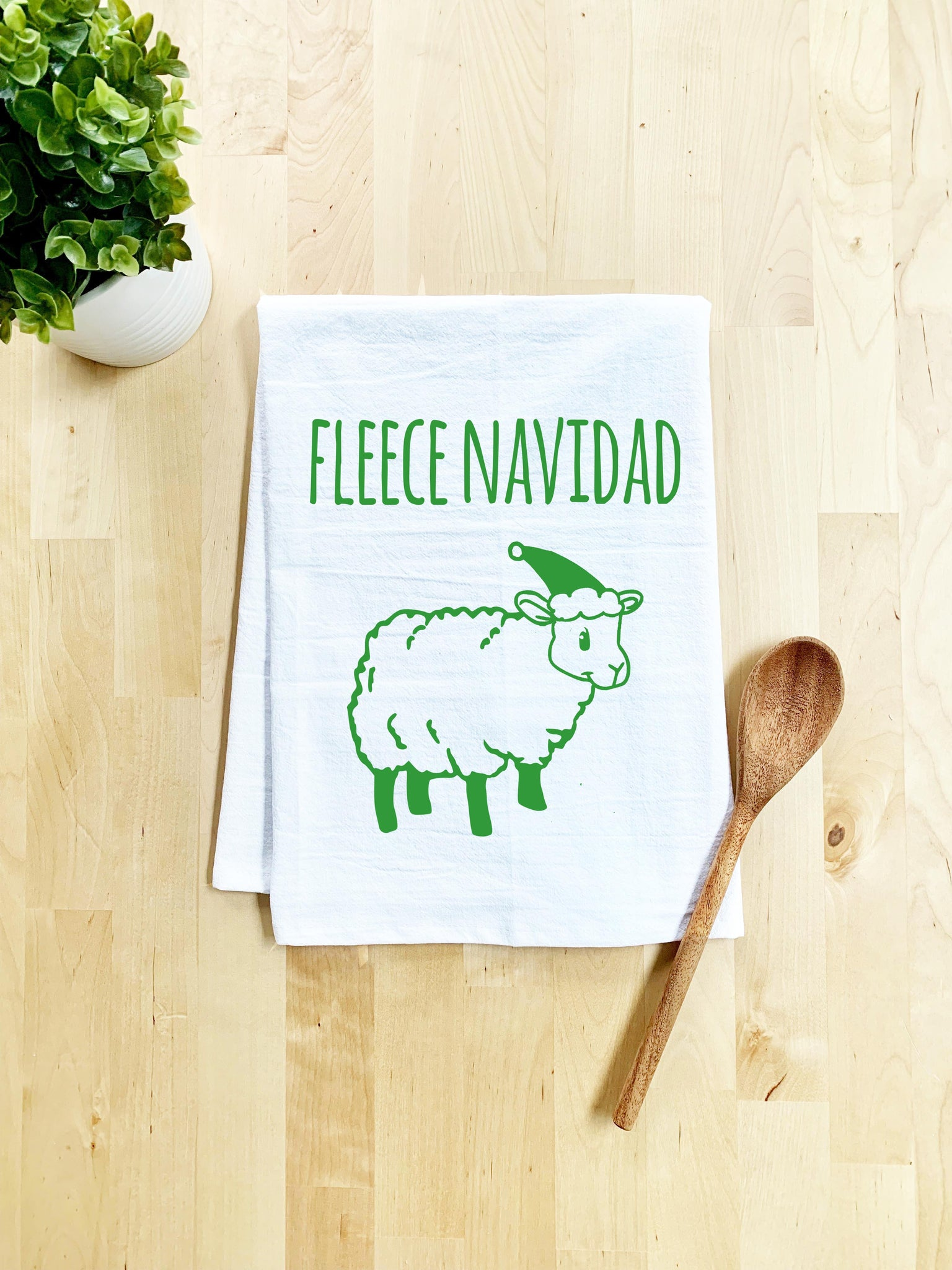 Fleece Navidad Dish Towel - White Or Gray - Sale - MoonlightMakers