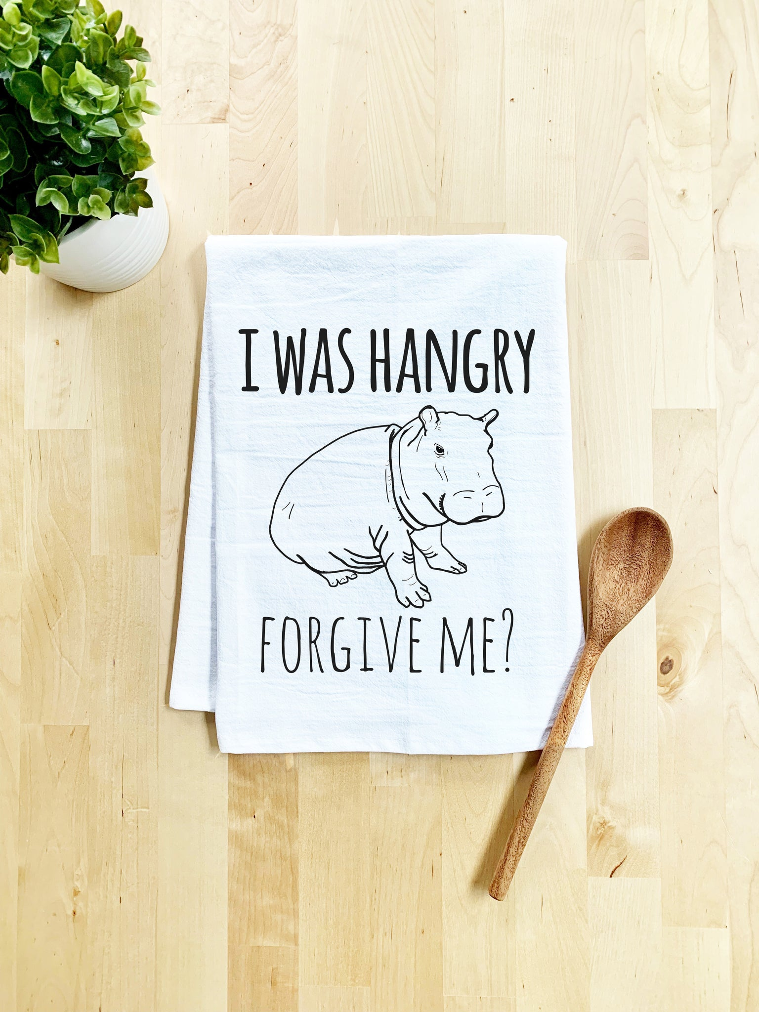I Was Hangry, Forgive Me? Dish Towel - White Or Gray - MoonlightMakers