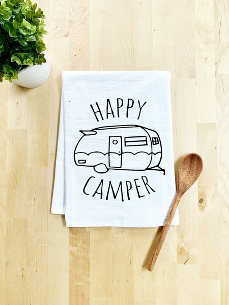 Happy Camper Dish Towel - White Or Gray - MoonlightMakers
