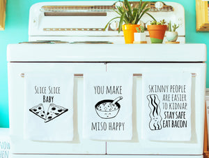 Dish Towel Gift Set of 3 ~ Mix and Match ~ Pizza, Miso, Bacon ~ Dish Towel Set ~ White - MoonlightMakers