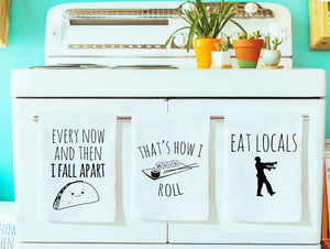 Dish Towel Gift Set of 3 ~ Mix and Match ~ Taco, Sushi, Zombie Dishtowel White Or Gray - MoonlightMakers
