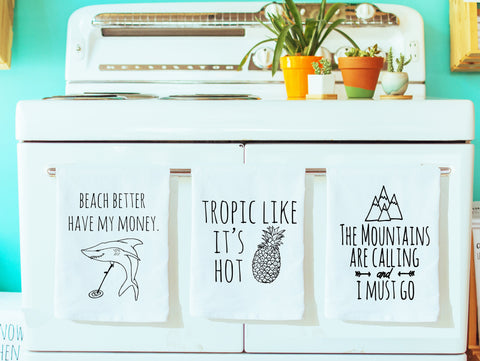 Dish Towel Set of 3 ~ Mix and Match ~ Beach, Pineapple, Mountains ~ White - MoonlightMakers