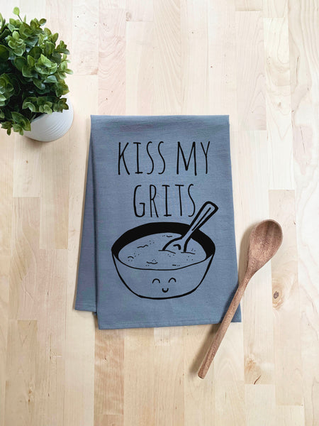 Kiss My Grits Dish Towel - White Or Gray - MoonlightMakers