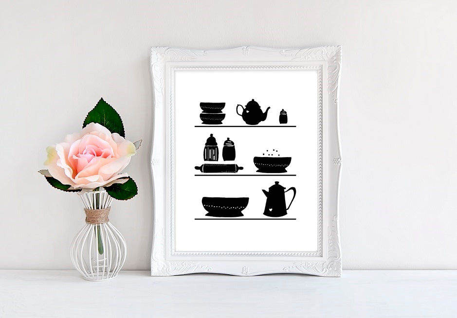 "Kitchen Shelves (Black and White) - 8""x10"" Wall Print"