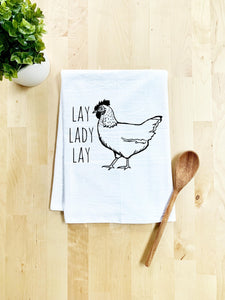 Lay Lady Lay Dish Towel - White Or Gray - MoonlightMakers