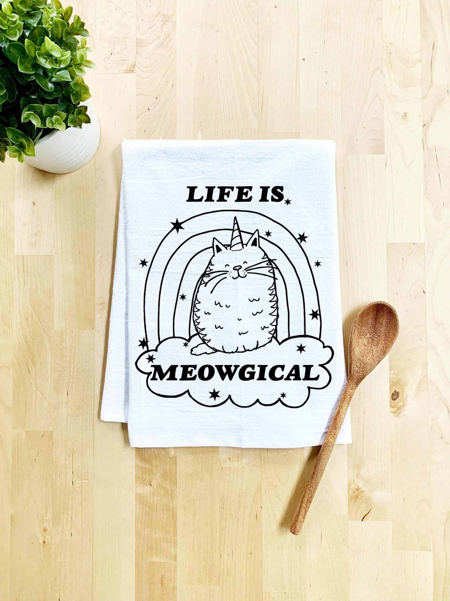 Life is Meowgical Dish Towel - White Or Gray - MoonlightMakers