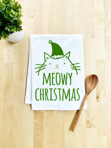 Meowy Christmas Dish Towel - White Or Gray