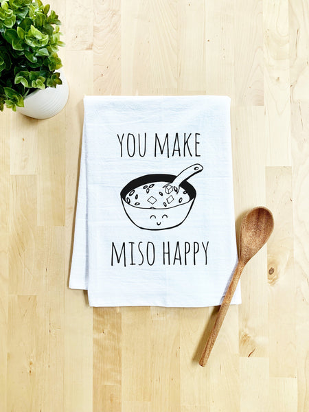 You Make Miso Happy Dish Towel - White Or Gray - MoonlightMakers
