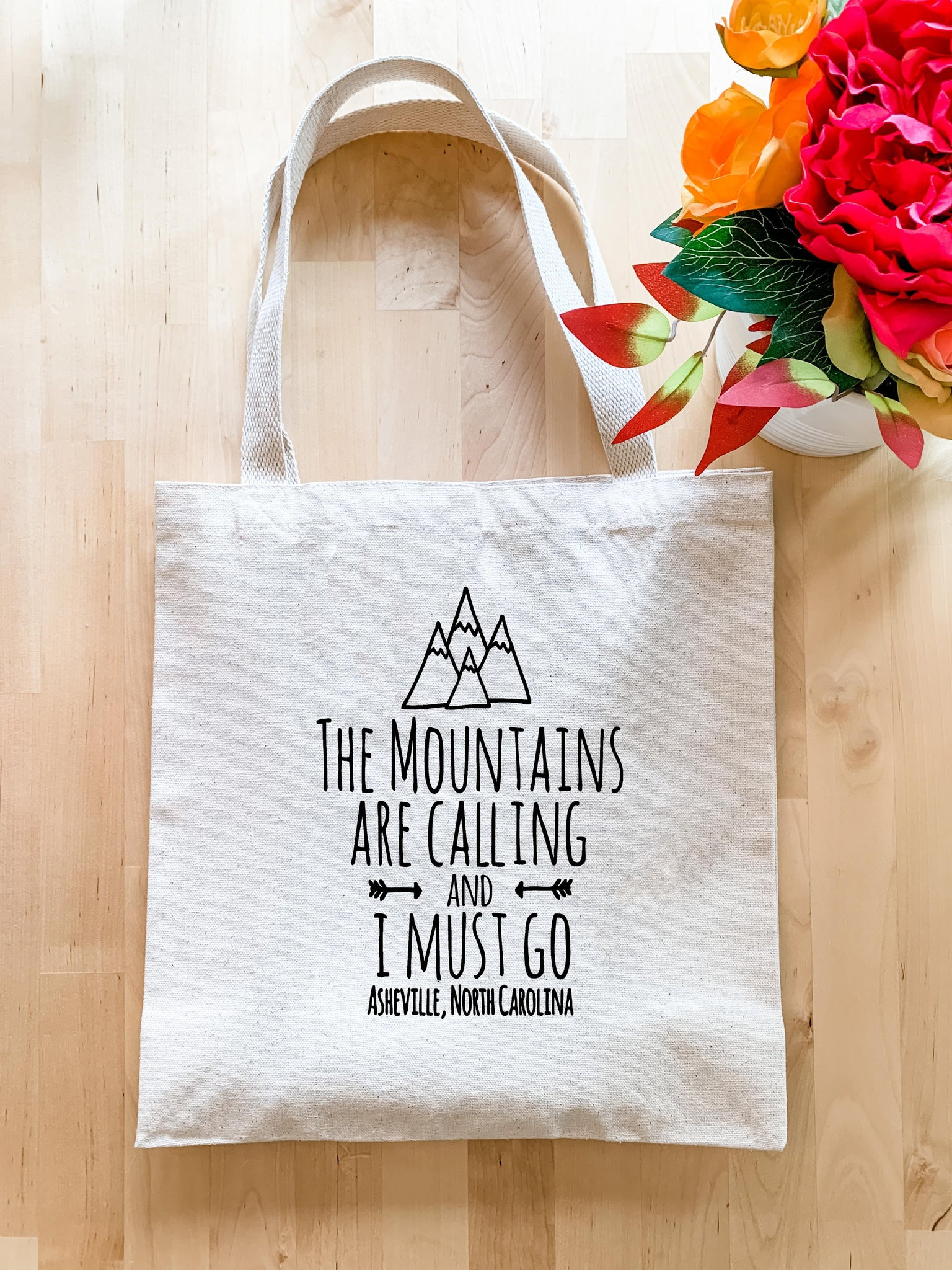 The Mountains are Calling and I Must Go, Asheville NC - Tote Bag - MoonlightMakers
