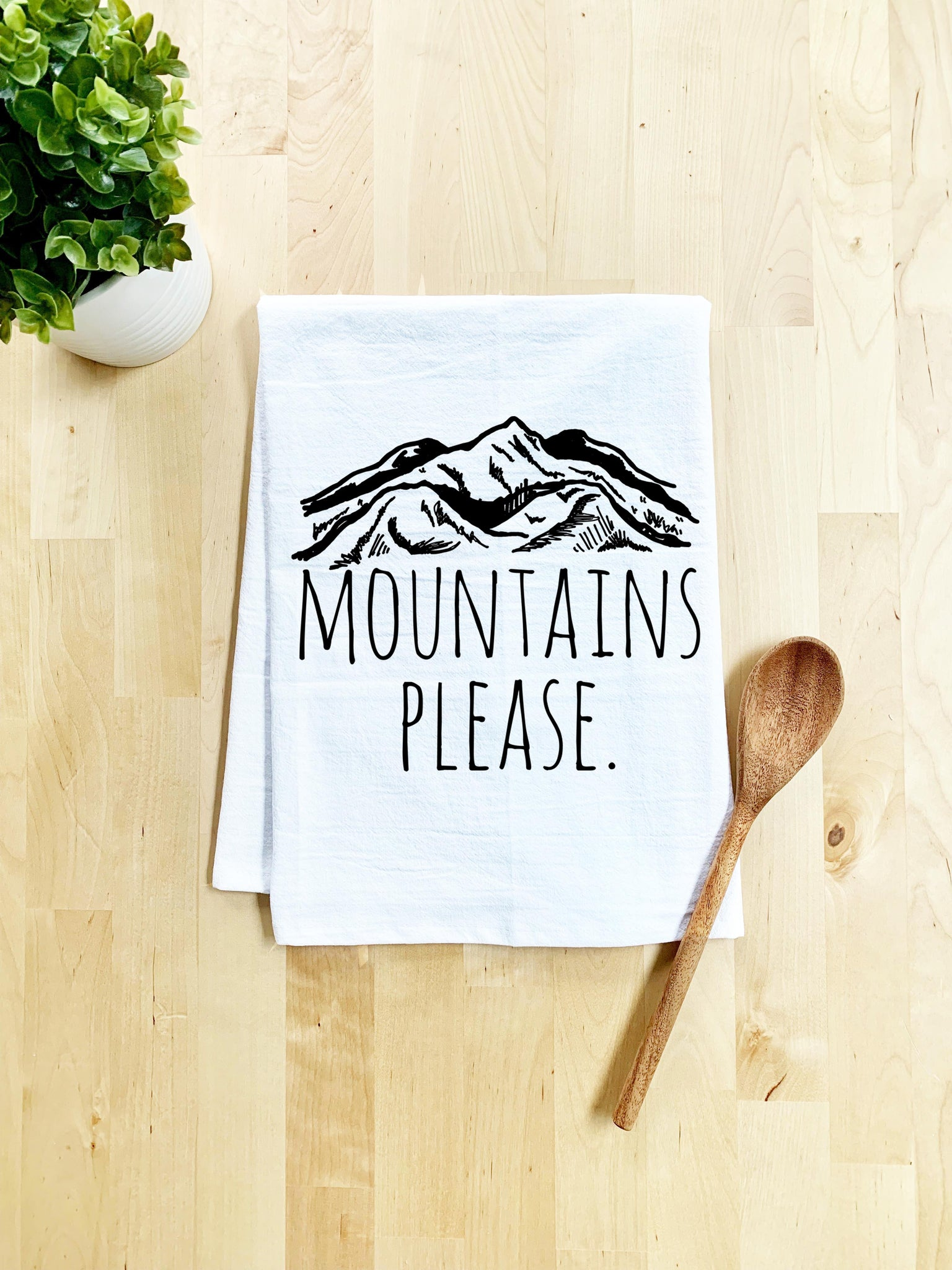 Mountains Please Dish Towel - White Or Gray - MoonlightMakers