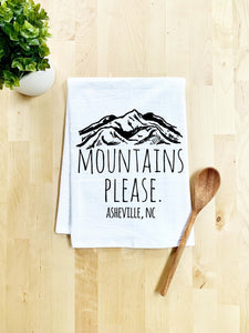 Mountains Please, Asheville NC Dish Towel - White Or Gray - MoonlightMakers