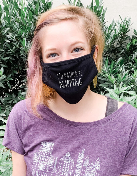I'd Rather Be Napping - Cloth Mask - Black - MoonlightMakers