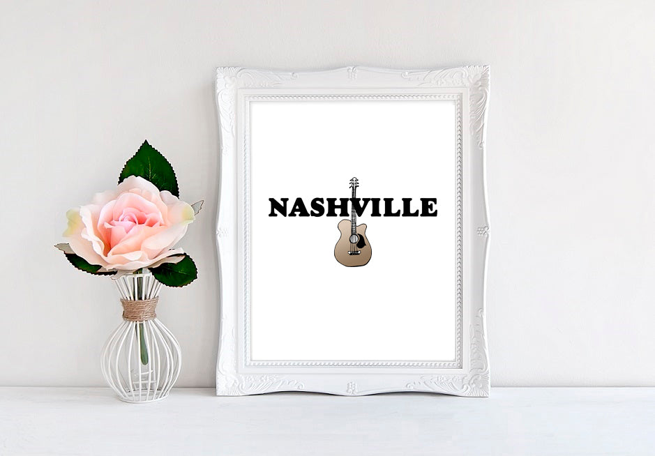 "Nashville Guitar - 8""x10"" Wall Print - MoonlightMakers"