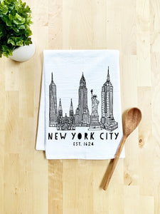 New York City, NYC Dish Towel - White Or Gray - MoonlightMakers