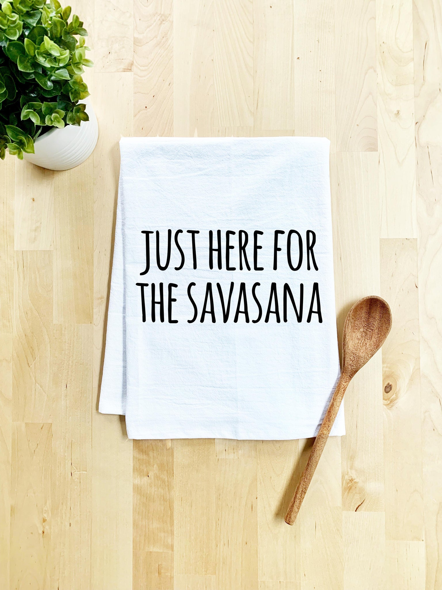 Just Here For The Savasana Dish Towel - White Or Gray - MoonlightMakers