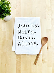 Schitt's Creek Names, Johnny, Moira, David, Alexis, Dish Towel - White Or Gray - MoonlightMakers