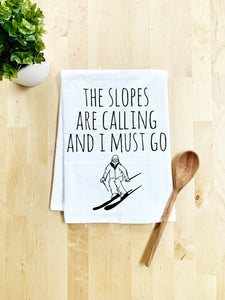 The Slopes Are Calling Dish Towel - White Or Gray - MoonlightMakers