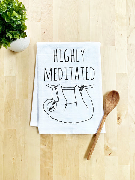Highly Meditated Sloth Dish Towel - White Or Gray - MoonlightMakers