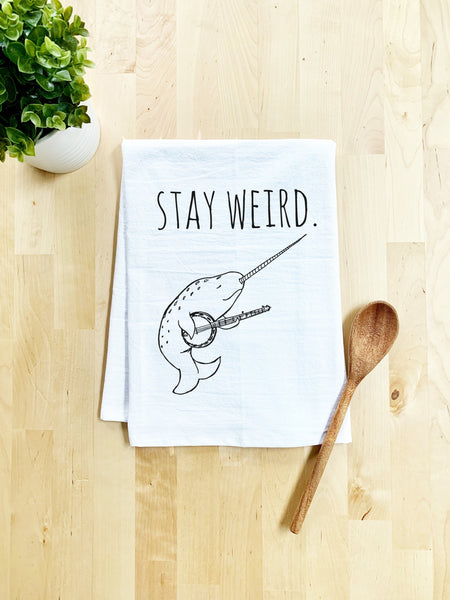 Stay Weird, Narwhal Playing the Banjo Dish Towel - White Or Gray - MoonlightMakers