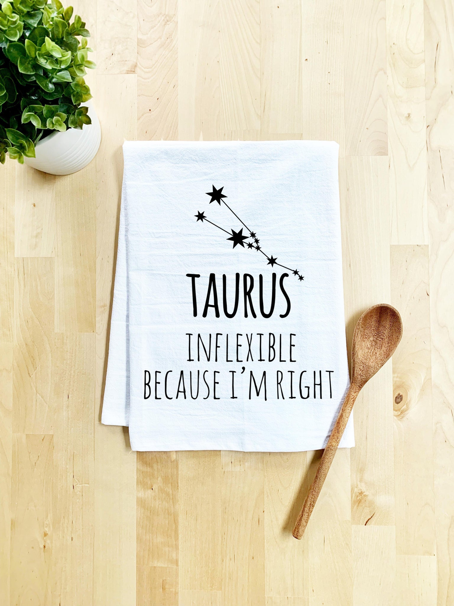 Taurus (Inflexible Because I'm Right) Dish Towel - White Or Gray - MoonlightMakers