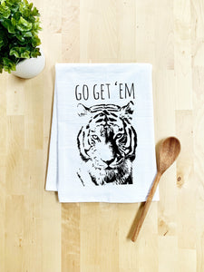Go Get 'Em Tiger - Dish Towel - White Or Gray - MoonlightMakers