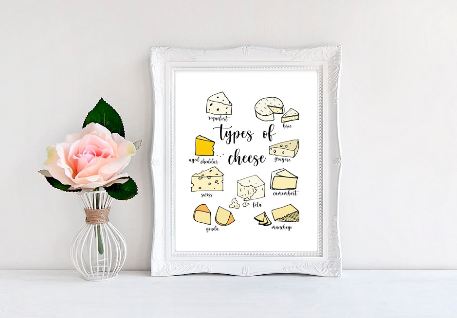 "Types Of Cheese - 8""x10"" Wall Print"