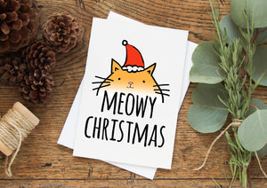 Meowy Christmas - Holiday Greeting Card - MoonlightMakers