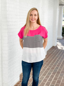 Hot Pink Stripe Top
