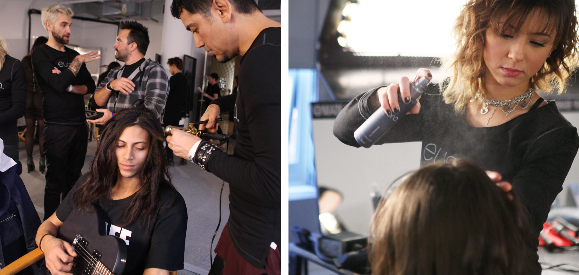 Hairstylists performing techniques on models
