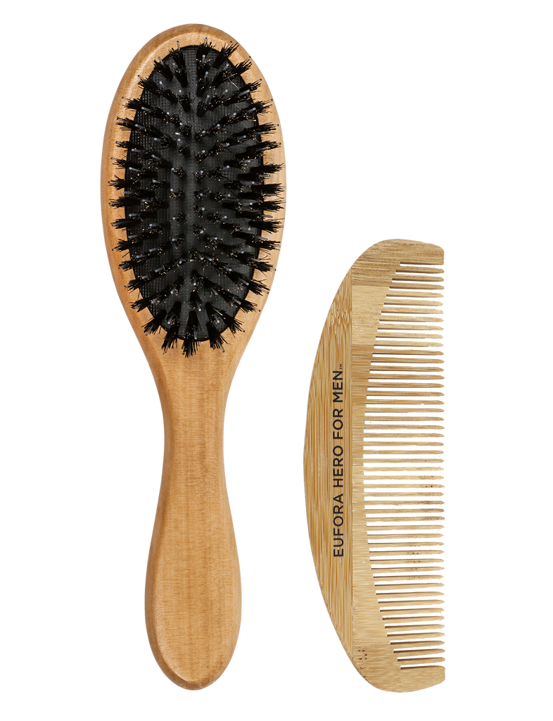 Eufora Bamboo Duo Boar Paddle Brush & Comb