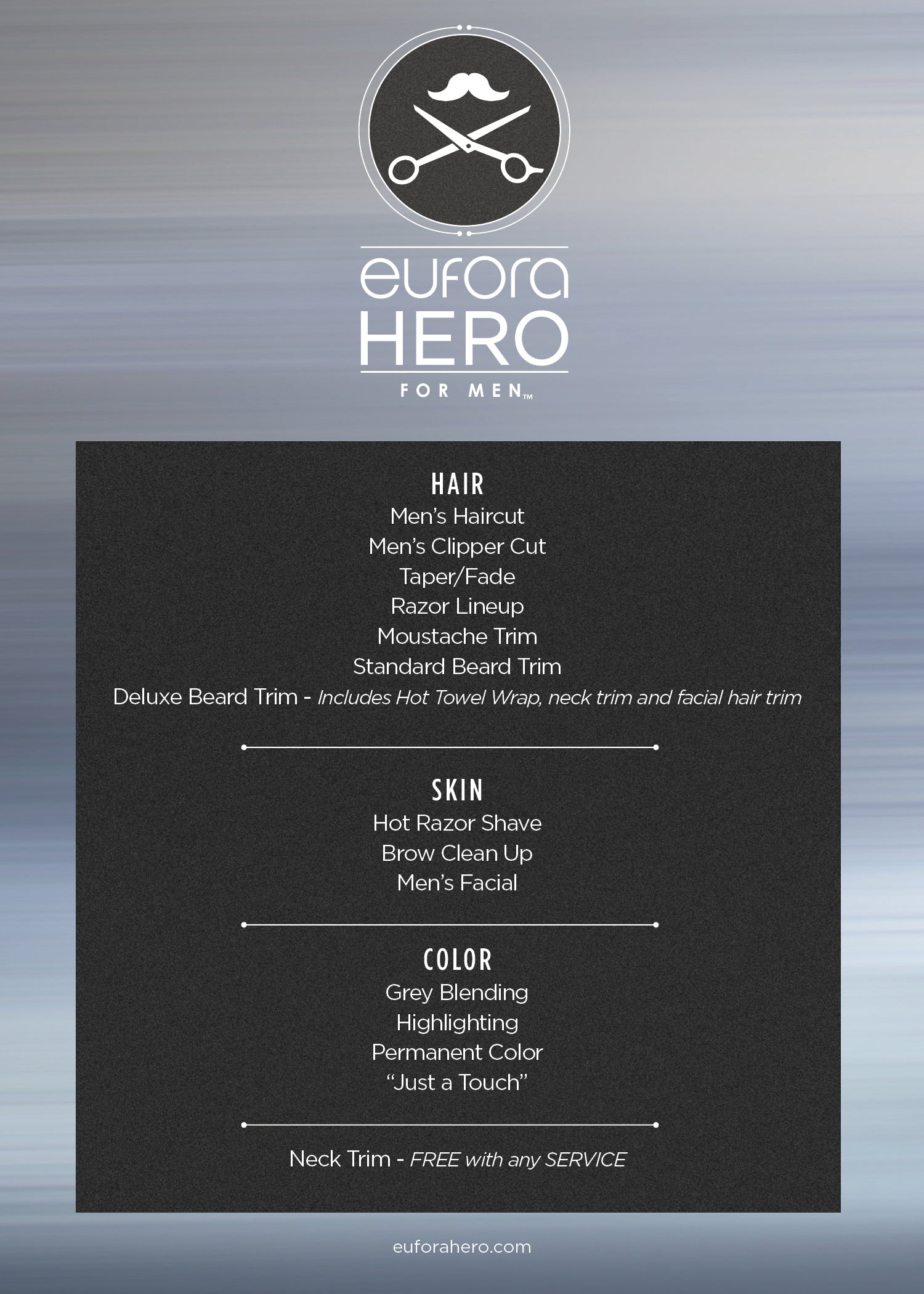 Hero Service Menu – 5″x7″ Consumer Display Card