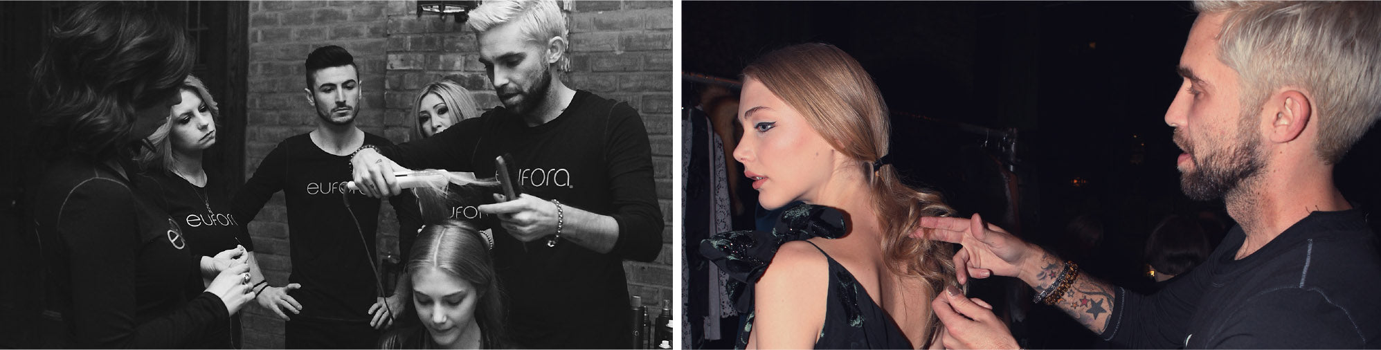 Stylists giving training lessons with models