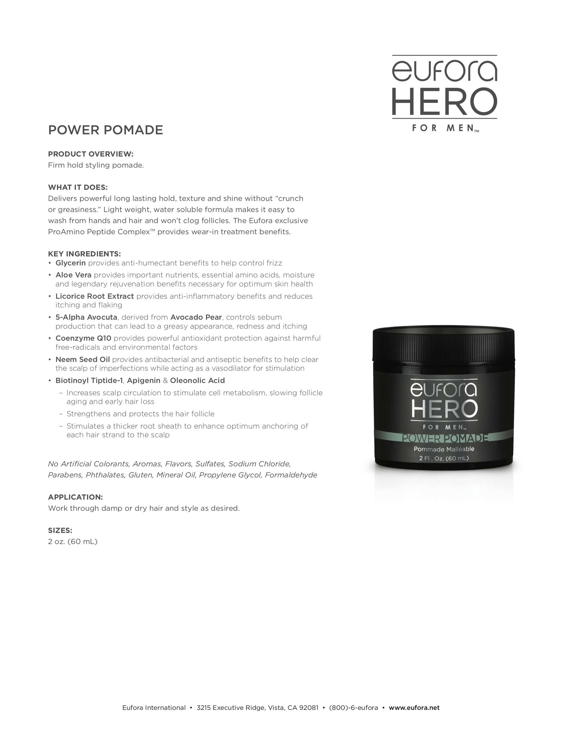 Power Pomade Fact Sheet