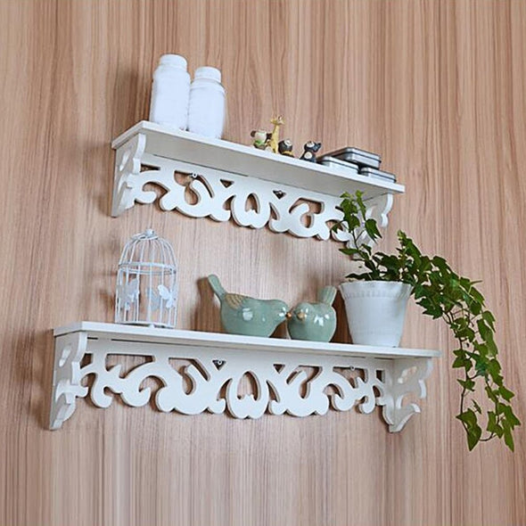 White Wooden Decorative Wall Shelf