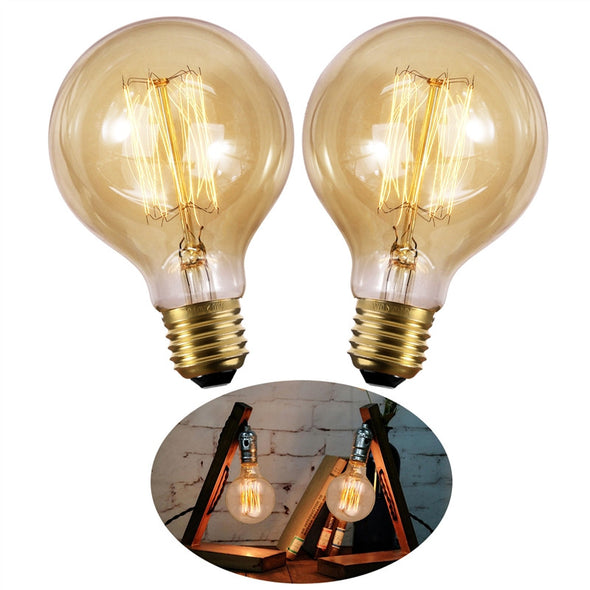 2-pack Dimmable Filament Edison Warm White Light Bulbs for Indoor/Outdoor Use (40W)