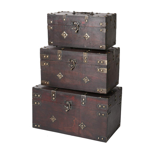 SLPR Montgomery Decorative Antique-Style Wooden Boxes (Set of 3, Brown)